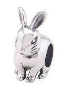 Bunny Rabbit Silver Charm Bead - Genuine 925 sterling silver charm bracelet bead - Gift Packed