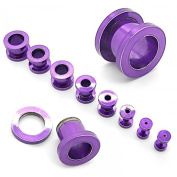 Set of 8 Flesh Tunnel Plug Ear Piercing to Screw Purple Colour 1,6-10mm