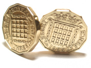 1955 Original Threepence 3d birthday / Anniversary Cufflinks ideal for a 60th birthday