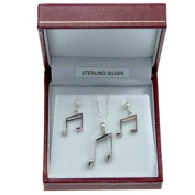 Sterling Silver Semi Quaver Pendant and Earrings Jewellery Set
