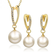 DUMAN 18ct Yellow Gold Plated Alloy Crystal Pearl Jewellery Sets Necklace Earrings