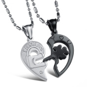 Jewow Jewellery 2 Piece Stainless Steel lock and key Heart Shaped Love Necklaces Gifts for Couples