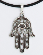 Large Filigree Hamsa Hand Lucky Evil Eye karma premium leather choker / necklace (chocker)+ Made in UK +
