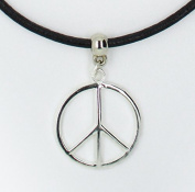 Peace symbol charm on Premium quality leather choker / necklace (chocker)+ Made in UK +