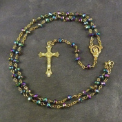 Dark Purple long iridescent glass luxury rosary on gold colour metal chain and cross