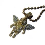 Faux Diamond Micro Gold Plated Angel / Cherub Pendant and Ball Chain