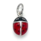 Sterling Silver Red enamel ladybird charm/pendant 10mm x 7mm 8922 . Gift Boxed