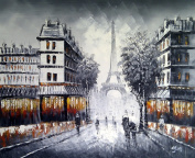 Large Paris at Dusk street scene with Eiffel Tower. Fine Art oil on canvas painting - Superb quality and craftsmanship, hand made wall art