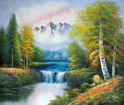 Large Fine Art oil on canvas painting. Nature Mountain scenery - Superb quality and craftsmanship, hand made wall art