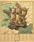Reproduction Antique Map of France at the time of the French Revolution, in The Form of a Ship, Departments that were for the Revolution are shown as the ship and those areas that were against the Revolution are shown as land, Approximately 70cm x 60cm ..