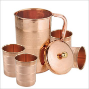 Indian Pure Copper Jug with 4 Tumbler Glass Set for Ayurvedic Healing, Capacity 1.6 Litre