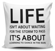 Learning To Dance In The Rain Quote Cushion Cover