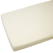 1x Cot Bed 100% Cotton Jersey Fitted Sheet Cream 140 x 70 cm