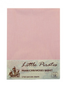 2 x Baby Pram/Crib/ Moses Basket Pink Flat Sheet 100% Luxury Brushed Cotton