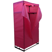 Home Discount Storage Double Wardrobe, Pink Canvas Clothes Rail Strong Frame.