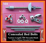 Concealed M8 bed bolts/Half Moon/Crescent washers/REPLACEMENT/NO INSERT NUTS. lengths 75mm - 200mm.