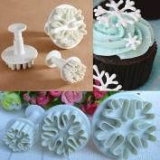 YOUS 3pcs Snowflake Fondant Cake Decorating Sugarcraft Cutter Plunger Mould Mould