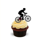 The Baking Girls - Bike Bicycle Cycling Silhouette - Standups 12 Edible Standup Premium Wafer Cake Toppers - 2 x A5 sheet - 12 images