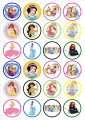 Disney Princesses Edible PREMIUM THICKNESS SWEETENED VANILLA,Wafer Rice Paper Cupcake Toppers/Decorations