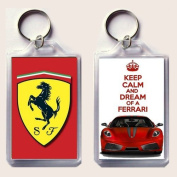 """KEEP CALM and DREAM of A FERRARI keyring printed on an image of a red Ferrari F430 on one side and the iconic Ferrari rampant horse badge on the other, from our Keep Calm and Carry On series - an original """"sorry I couldn't get you the real thing"""" Fathe .."""