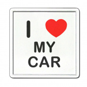 I Love Heart My Car - Clear Plastic Tea Coaster / Beer Mat