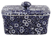 Burleigh Dark Blue Calico Butter Dish