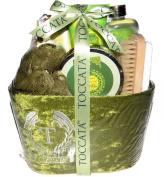 Lemon Zest & Red Ginger Argan Oil Bath Gift Set - Shower Gel, Hand Cream, Bath Salt, Bath Crystals, Body Puff, Pumice Brush, Scoop, Sponge in a Velour Covered Gift Box