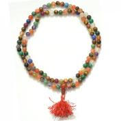 Odishabazaar Navratan Nine Stone Unknoted Japa Mala Yoga Meditation 108+1 Beads