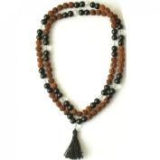 Odishabazaar Black Onyx Unknoted Chakra Japa Mala Yoga Meditation 108+1 Beads