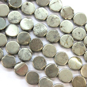 Natural Genuine Pyrite Flat Coin Gemstone Beads for Jewerly Bracelet Making