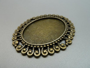 5pcs 47x57mm-30x40mm Antique Bronze Flowers Oval Filigree Cameo Cabochon Base Setting Connector Link D237