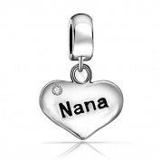 Jewellery Nana Heart Dangle Charm 925 Sterling Silver Charm Bead Fit European Pandora Charms Bracelet