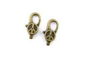 Price per 5 Pieces Jewellery Making Charms BSNN0 Peace Symbol Lobster Clasp Ancient Bronze Findings Craft Supplies Bulk Lots