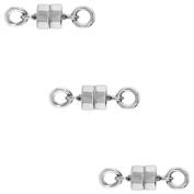3 PACK Sterling Silver 4 mm Magnetic Clasp for Light Necklaces USA, Square Edge