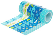 HIART Repositionable Washi Tape Fun in The Sun Travelling Collection (Set of 6), Blue
