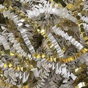 White Crinkle Cut Paper Metallic Mix - 0.2kg White and Gold Gift Basket Filling Christmas Shredded Paper