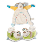 Neat-Oh Baby's First Plush Dog Security Blanket and Baby Booties with Rattle Set