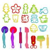 Kare & Kind Set of 19pcs Smart Dough Tools Kit with Models and Moulds, (Retail Packaging) (mix models)