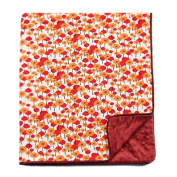 My Blankee Pick a Bunch Cotton Orchid with Dot Velour Burgundy and Satin Pipping Border, Baby Blanket 80cm X 90cm
