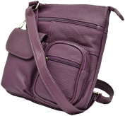 Handcrafted Genuine Leather Pebbled Purple Cross Body Shoulder Bag Trevel Purse