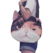 Good Bag Women's Shoulder Bag Zipper Tote Bag Cross-body Bag with Cute Lifelike 3D Animal Cat Head Printing