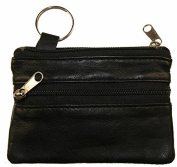Genuine Leather Coin Change Purse Key Ring Black #180