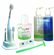 Sensitive Dental Care - Complete kit with Sonic Powered Toothbrush and Floss System, antimicrobial mouthrinse and More