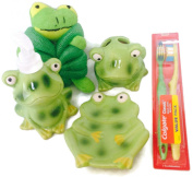 Friendly Frog Bathroom Accessory Bundle Includes 5 Items - Pump Soap Dispenser, Soap Dish, Toothbrush Holder, 2 Ct Toothbrushes, Bath Pouffe
