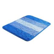 Antislip Bath Rugs Blue Leaf Pattern 60cm x 41cm