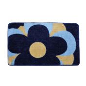 Blue Bath Rugs Floral Pattern 60cm x 41cm