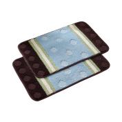 Blue Bath Rugs Round Pattern 60cm x 41cm