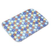 Blue Antislip Bath Rugs Floral Pattern 60cm x 41cm