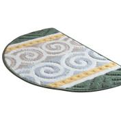 Green Bath Rugs Semicircle Shape 80cm x 48cm