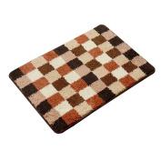 Brown Bath Rugs Grid Pattern 70cm x 48cm